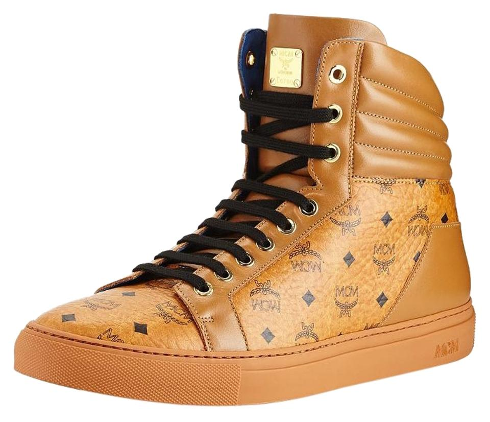 a69c86267e6 MCM Cognac Classic Visetos High Top Signature Monogram Fashion Sneakers  Boots/Booties