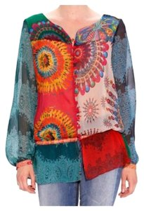 Desigual Artsy Spain Boho Peasant Top Multi Color