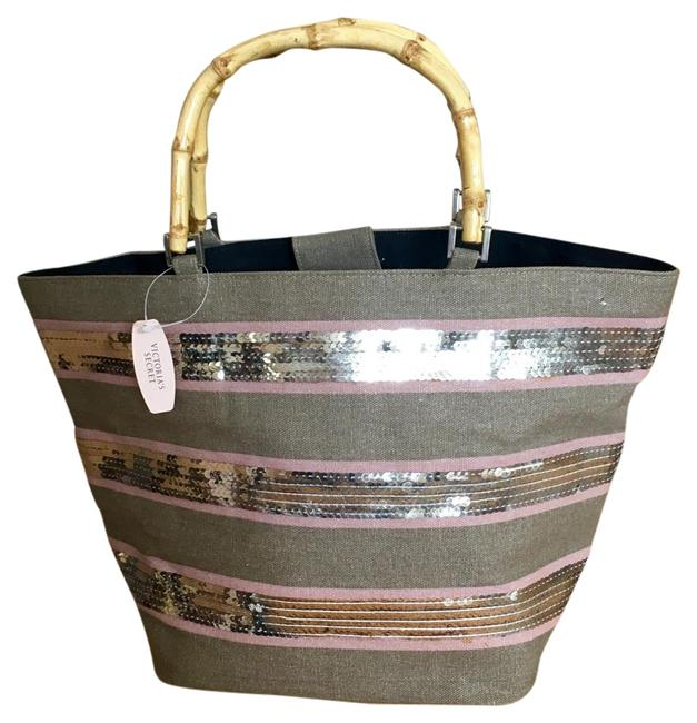 Item - With Bamboo Handles Grey Pink Sequins Canvas Tote