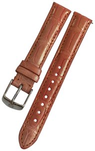 Michele Nwt Michele Coral Orange with Gold Shimmer Alligator Leather Band