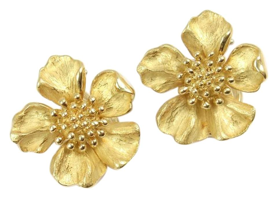 Tiffany Co Rare Vintage 18k Yellow Gold Dogwood Flower Wild Rose Earrings