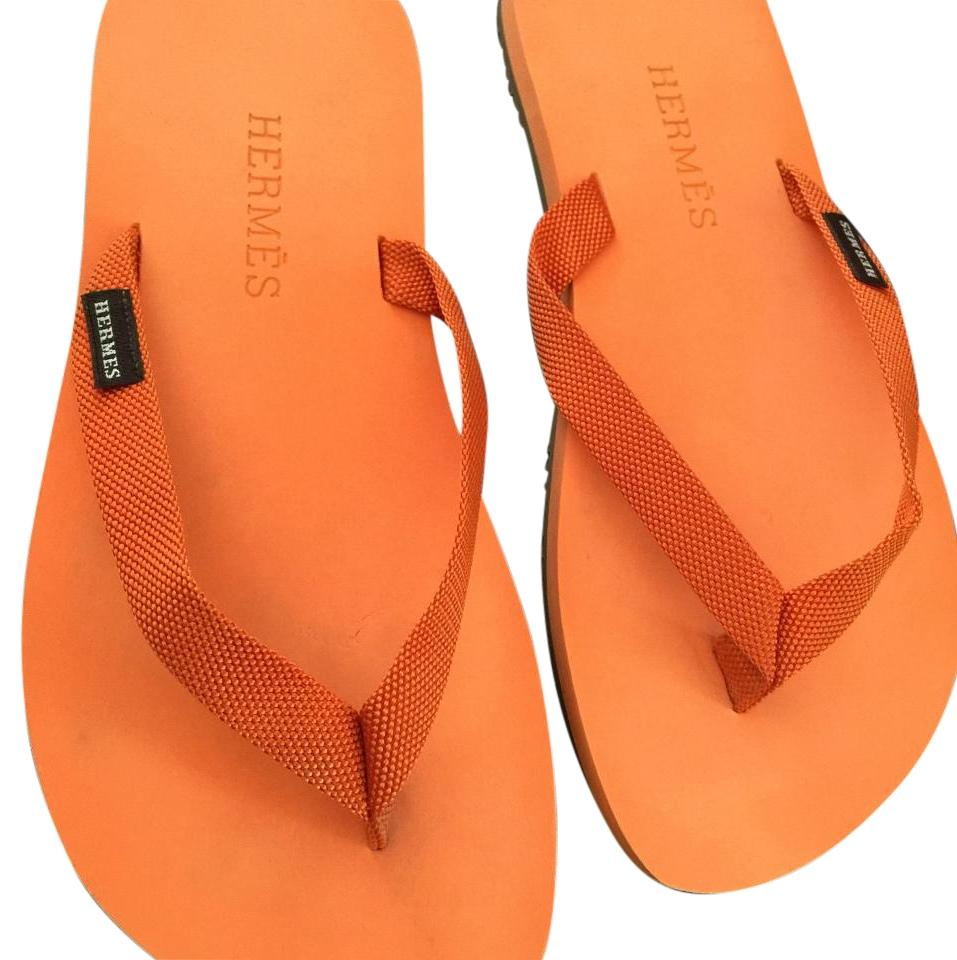 dd8f9570a9dc2 Hermès Orange Womens Flip Flops W  Technical Toile H Web Strap Sandals