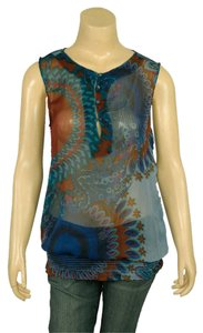 Desigual Artsy Spain Boho Peasant Top Multi Color Blues