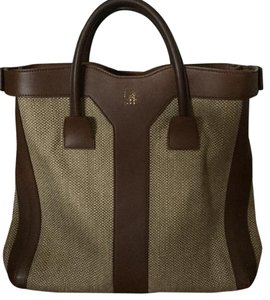 Saint Laurent Tote in Sand Linen And Brown Leather