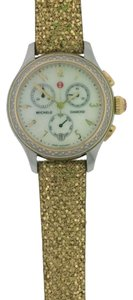 Michele Michele Two Tone Gold & Silver Diamond Jetway Watch MW23A01C5025 + Michele Glitter Leather Band