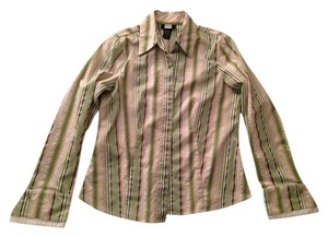 Studio 1940 Button Down Shirt green, brown, white stripes