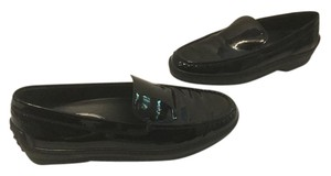 Tod's Lining Padded Driving Soles Italian E36.5 Black patent leather Flats