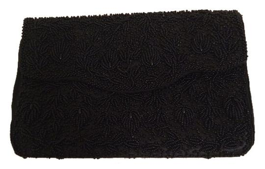 Vintage Encore Imports Black Satin and Bead Clutch