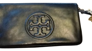 Tory Burch Leather Tb Black Clutch