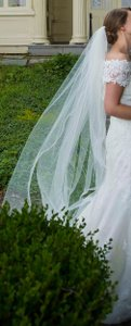 Ivory Cathedral Length Veil With Crystals