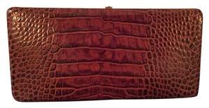 Abas Alligator Evening Cocktail Formal Wallet Rich Brown, Crocodile Embossed Leather Clutch