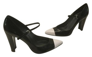 Stuart Weitzman Foot Strap Made Spain Black patent all leather capped toe Pumps