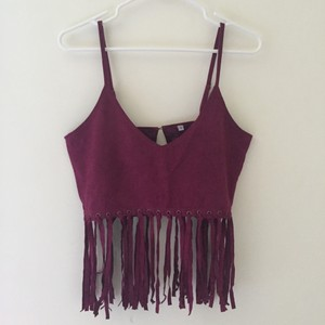 Festival Burgundy Fringe Top Red