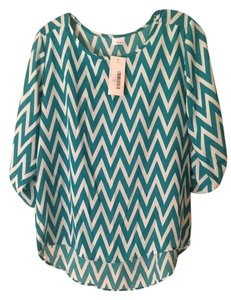 Haute Look Top Teal/White Chevron