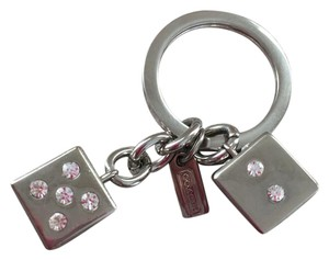 Coach Coach Sterling Silver Crystal Embossed Dice Keychain
