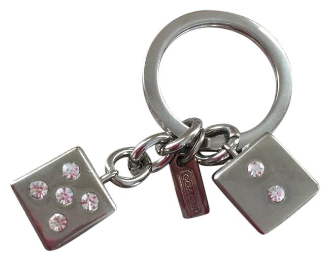 Item - Silver Sterling Crystal Embossed Dice Keychain