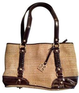 Giani Bernini Braided Faux Leather Woven Textile Satchel in Tan & Brown