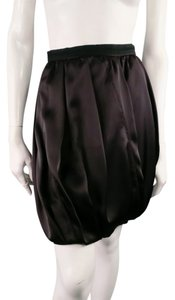 Prada Bubble Pleated Boxy Ribbon Mini Skirt Brown