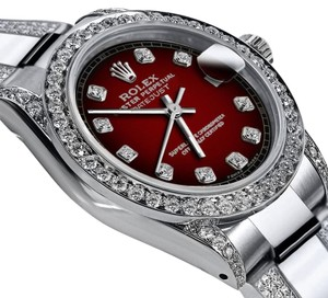Rolex Women's 26mm s/s Oyster Perpetual Datejust Custom Red Diamonds Dial