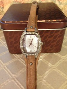 Fossil Fossil Watch w/leather band and crystal bezel