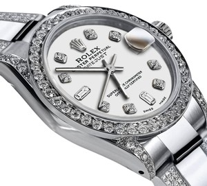 Rolex Women's 31mm Oyster Perpetual Datejust White Color Dial Diamonds