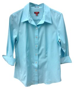 Talbots Wrinkle Resistant 3/4 Sleeve Fitted Button Down Shirt Aqua