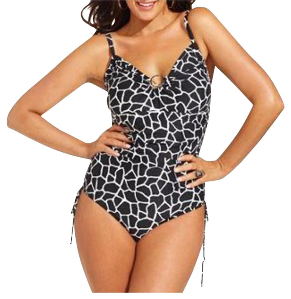 98d83443fd Michael Kors Black White Animal Print Shirred Swimsuit One-piece Bathing  Suit