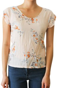 H&M Floral Short Sleeve Top Peach