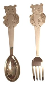 peruvian sterling silver Baby teddy bear fork and spoon set in .950 Sterling silver
