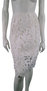 Dries van Noten Lace Pencil Lace Sheer Skirt White
