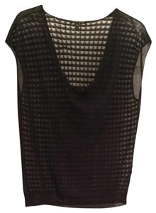 Eileen Fisher Fishnet Waffle Sheer Sleeveless Cowl Cowlneck Designer Elegant Fashion Professional Tunic