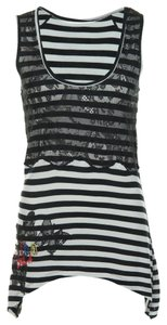 Desigual Edgy Lace Trim Top Black Cream