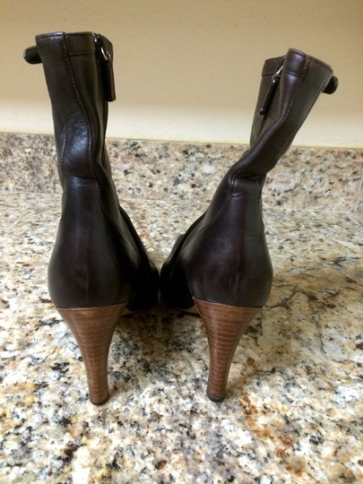 Gucci Leather Pointed Toe Mid Calf Zipper Women Ladies Brown Boots
