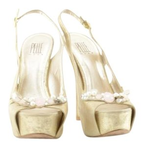 Pelle Moda Peep Toe Sandals Lame Gold Platforms