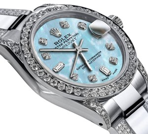 Rolex Women's 31mm s/s Oyster Perpetual Datejust Baby Blue Dial Diamonds