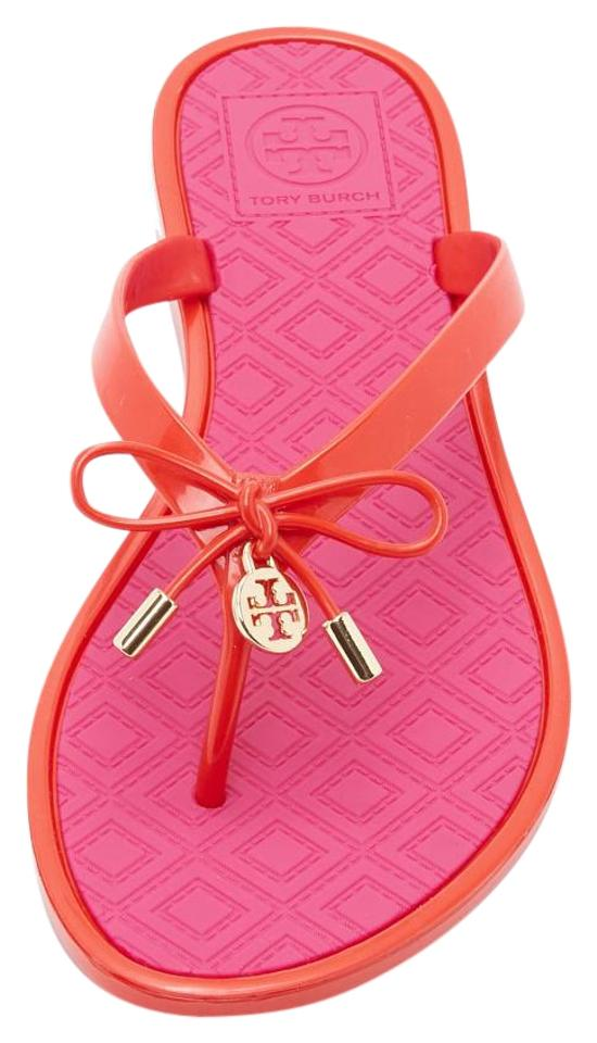 ca6b2571c5e3 Tory Burch Brilliant Red Saucy Pink Two Tone Jelly Bow Thong Flats ...