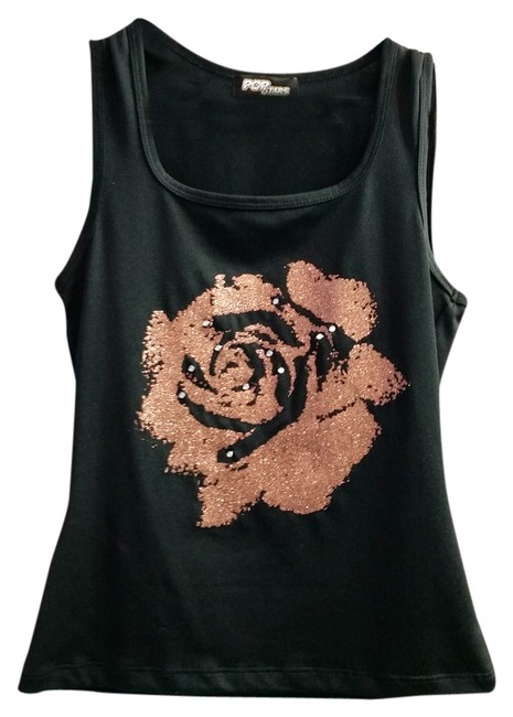 PopStar Glitter Rose Gold Rhinestone Sparkly Night Out Top Black