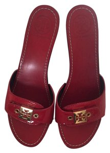 Tory Burch Studded Logo Red Platforms