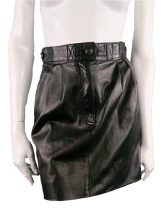INES de la FRESSANGE Mini Leather Vintage Structure Waste Mini Skirt Black