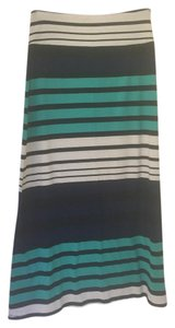 Mossimo Supply Co. Maxi Skirt Teal, Navy Blue, and White Stripes
