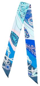 Hermès Blue, white multicolor Hermes abstract print silk twilly