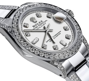 Rolex Women's 26mm Oyster Perpetual Datejust White Dial Custom Diamonds