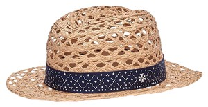 Tory Burch Beige Perforated Fedora natural navy with silk twill