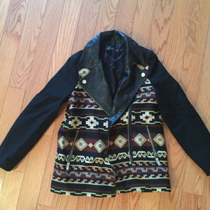 Zara Faux Leather Embroidered Casual Western Winter Black, cream, maroon Leather Jacket