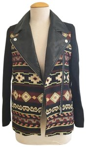 Zara Faux Embroidered Casual Western Winter Black, cream, maroon Leather Jacket