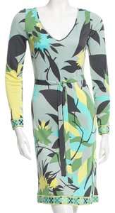 Emilio Pucci Belted V-neck Longsleeve Dress