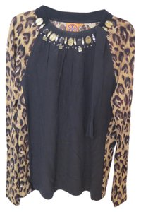 Tory Burch Embellished Beaded Top Black and Leopard
