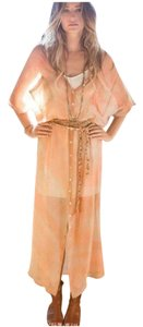 Orange Maxi Dress by Free People Bohemian Silk