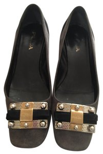 Prada Black Gray suede with buckle Flats