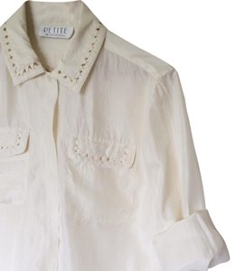 Petite Sophisticate Vintage Button Down Button Down Shirt Silk